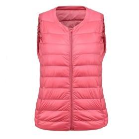 ダウンベスト女性の軽量薄型ノースリーブショート冬大人カジュアルキャップなし (色 : Leather powder, サイズ さいず : XXL)
