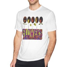 メンズ Tシャツ 半袖 おしゃれ ザ・ローリング・ストーンズ The Rolling Stones Flowers プリント スポーツ着 ホワイト M