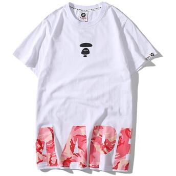 AAPE,A BATHING APE 英字 プリント創意 個性デザイン Tシャツ メンズ半袖 (ホワイト, L)