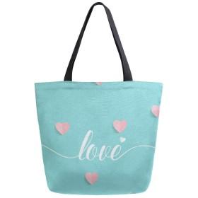 キャンバス トートバッグ 心 可愛い ファッション 大容量 B4 肩掛け 多機能 通勤通学 買い物袋 旅行 かわいい