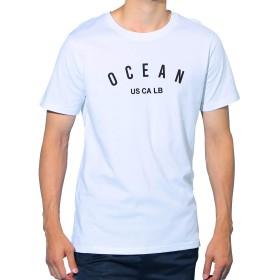 JIGGYS SHOP USAコットン ロゴ Tシャツ メンズ 半袖 クルーネック スリムフィット 25柄 M Qホワイト