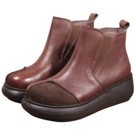 [Maysky] 大きいサイズ ショートブーツ 6cmヒール ウェッジソール サイドゴア ボア付きショートブーツ 本革 スエード 切り替え 秋冬 厚底 本革 軽量 コンフォート 4E 婦人靴 レディース (245, ダックブラウン)