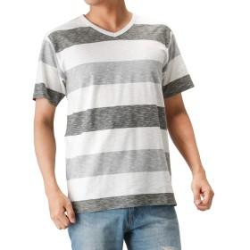 Tシャツ メンズ 半袖 棉 Vネック カットソー 半袖Tシャツ ボーダーTシャツ おしゃれ カジュアル ボーダー MH/03521SS-1 メンズ カーキ:XL