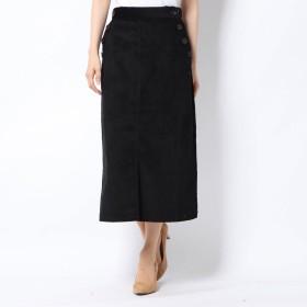 ジーラ GeeRA ボタンデザインコーデュロイスカート (ブラック)