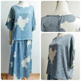 着物リメイク ウエストゴムのロングスカート 白地×ブルー花