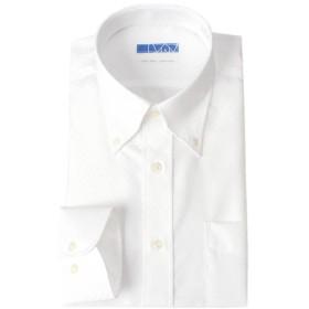 [ドレスコード101] スマシャツ 超形態安定 ノーアイロン メンズ 長袖 ワイシャツ 綿100% 【すっきりシルエット】スリム KWGL10 ボタンダウン×ホワイト(ドビー織りチェック) 日本 首周り37裄丈80 (日本サイズS相当)