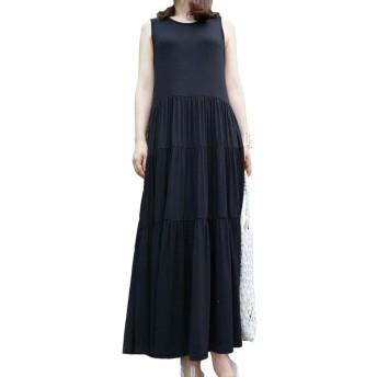 [miotobiz] ソリッド3段とてもロングワンピースフリーサイズレーヨン混紡素材、袖なしのワンピース (ブラック)