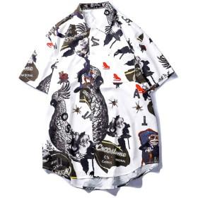 アロハシャツ メンズ 大きいサイズ 半袖 オープンカラーシャツ 夏 ストリート系ファッション 柔らかい ビーチ リゾート 海 カジュアル 父の日ギフト ブラック