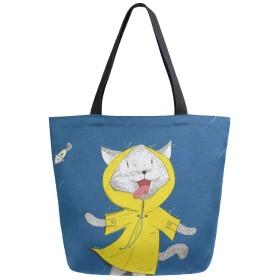 キャンバス トートバッグ ねこ おもしろい ファッション 大容量 B4 肩掛け 多機能 通勤通学 買い物袋 旅行 かわいい