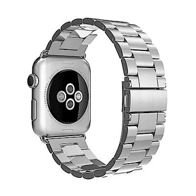 Apple Watch 不鏽鋼三珠蝶扣錶帶-贈拆錶器(星空銀-38mm)