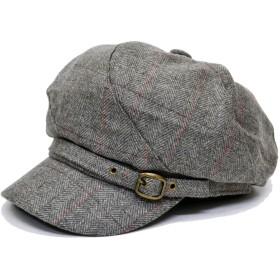 ウール混 キャスケット 格子 飾りベルト付き レディース 帽子 (グレー)