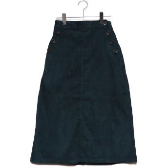 ジーラ GeeRA ボタンデザインコーデュロイスカート (グリーン)