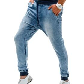WE&energy メンズスポーツバギーパンツ高ウエスト洗浄スリムテーパードファッションジーンズ Light Blue L