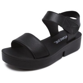 [ヨウチャン] サンダル 厚底 軽量 フラット 通学 通勤 疲れにくい 歩きやすい 履き心地 レディース (38(24.0cm), ブラック)