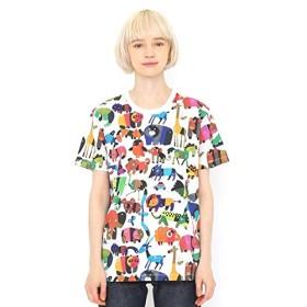 グラニフ(graniph) 【ユニセックス】コラボレーション総柄Tシャツ/どうぶつだいすき(五味太郎)【001ホワイト/S】