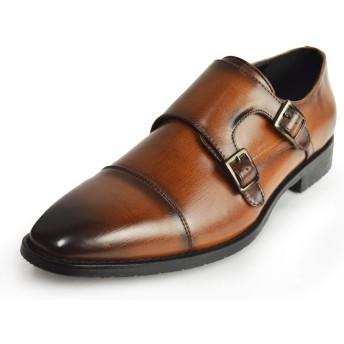 [ジーノ] ビジネスシューズ 靴 革靴 メンズ ストレートチップ モンクストラップ ロングノーズ フォーマル 幅広 防滑 紳士靴 ze5515 ブラウン 27cm