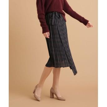 GRACE&MILA チェックラッププリーツスカート