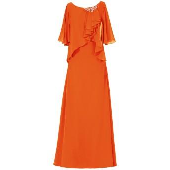 Dresstell(ドレステル) 結婚式 フォーマルドレス ドルマンスリーブ シフォン ビジュー付き ママのタイプ レディース オレンジ 13号