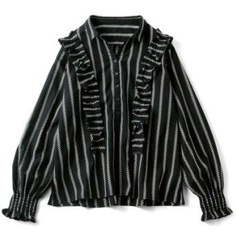 先染め織り柄の華やかプルオーバーブラウス〈ブラックストライプ〉 リブ イン コンフォート フェリシモ FELISSIMO