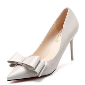 [ファイン・ショップ] ピンヒール パンプス レディース 9.0cmヒール エナメル 美脚 歩きやすい 履きやすい 安定感ある シンプル OL風 ベーシック フォーマル グレー 22.0-24.5cm