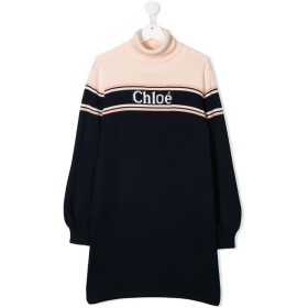 Chloé Kids TEEN logo knit dress - ブルー