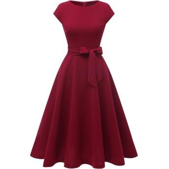 Dresstell(ドレステル) ワンピース レディース 夏 ロングワンピース レトロ ミモレ丈 袖 フレア 結婚式ドレス フォーマル お呼ばれ 二次会 ワインレッド XSサイズ