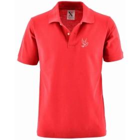 [X-CLOTHES] ポロシャツ 半袖 シャツ 楽器 鳥 魚 ビッグ ワンポイント 刺繍 グッズ 服 メンズ ハト レッド