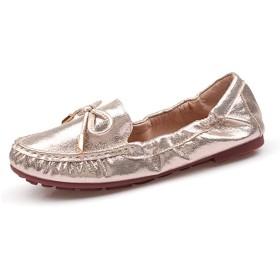 [リンゼ] シューズ パンプス レーディス靴 折り畳み バレエシューズ きん ラウンドトゥ お洒落 22.0cm オシャレ 軽量 柔らか素材 リボン フラットシューズ 小さいサイズ ぺたんこ ゴールド 靴歩きやすい ローヒール 便利 黒 金 銀