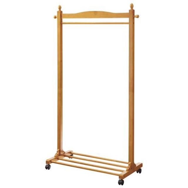 木製ハンガーラック(キャスター付き) - セシール ■カラー:ライトブラウン ■サイズ:B