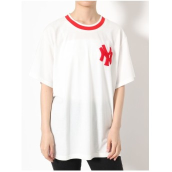 jouetie New York Yankees ラインリブ Tシャツ(オフホワイト)
