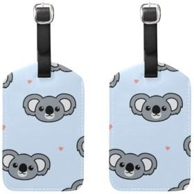 バッグ用ネームタグ ネームタグ 可愛い コアラ 漫画 パターン 荷物タグ ラゲージタグ かわいい おしゃれ 旅行用 スーツケースタグ PUレザー 2枚入 個性