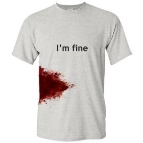 I'M FINE ゾンビ Tシャツ (X-Large, 薄いグレー)