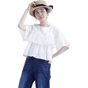 (メルロー) merlot 綿麻ティアードフリルカットソー1545 868200351545 FREE ホワイト