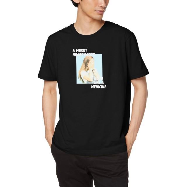 ウィゴー(メンズ)(WEGO) ガールフロントフォトTシャツ【ブラック/L】