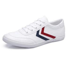[ZUBOK] カジュアルシューズ メンズ 快適 革靴 シンプル&おしゃれ スニーカー クッション性 紳士靴 通気性 通勤用 (25.5cm, 白红)