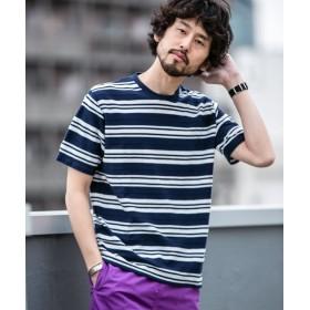 【WEB限定】ヘリンボンMIXボーダーTシャツ 半袖 5000円以上送料無料【公式/ナノ・ユニバース】