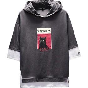 パーカー メンズトップス Tシャツ 猫柄 7分袖 無地 フード付き プルオーバー カットソー ティーシャツ 日韓風 ゆったり 夏服 リラックス カジュアル Keysims薄手 男女兼用 速乾 ファション 彼氏 男性 かっこいい 細身 大きいサイズM-4XL