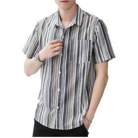 [YACORESYA(夜行列車)] シャツ メンズ カジュアルシャツ ストライプ ワイシャツ 半袖 綿 ボタンアップ ビジネス トップス 開襟シャツ 春 夏 秋 M-5XL