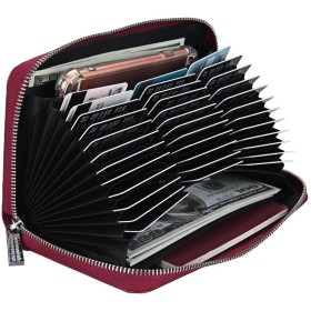 RECOO 大容量カードケース 長財布 カード入れ 名刺入れ パスポートケース じゃばら 36枚収納 多機能パスポートカード キャッシュカード スマホ収納可 携帯便利 男女兼用 (スカーレッド)