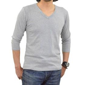 アダマス Uネック Vネック 7分袖 Tシャツ 無地 メンズ Vネック・杢グレー L