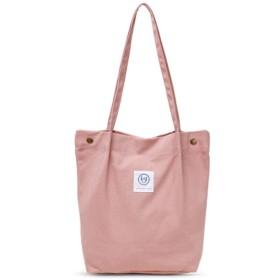 IXIMO トートバッグ ショルダーバッグ キャンバス バッグ 無地 人気 英字 韓風スタイル おしゃれ 小物収納袋 レディース トート 帆布 シティバッグ 大容量 ピンク