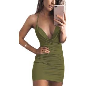 haler深いv -スリップノットの背部のボディコンクラブパーティードレスの女性 Armygreen M