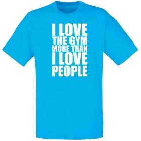 (ラブ ジム 人よりも。) I Love The Gym More Than I Love People, メンズ プリント Tシャツ - ブルー/白 L = 104-109 cm
