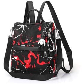 OWNFSKNL バックパック財布PUレザーデイパックカジュアルバックパックショルダーバッグ女性のバッグ (Color : レッド)