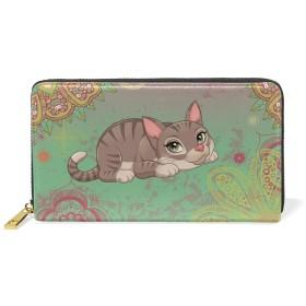 芸術猫 レディース本革のファスナー財布携帯と小銭が置いてある長財布