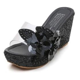 [楽ファッション] ウェッジソールサンダル サンダル オープントゥシューズ 厚底 透明な フラワー ウェッジ ミュール ヒール8cm レディース 靴 シューズ 身長アップ 美脚 痩せ 可愛い コンフォート 歩きやすい サボ アウトドア ビーチ 海 脱ぎやすい (39(サイズ39=24.5cm), ブラック)