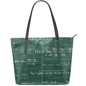数学の方程式トートバッグ レディース a4 軽量 PUレザー 布 大容量 通勤 キャンバス ファスナー 2way 肩掛け 手提げバッグ おしゃれ 大きめ
