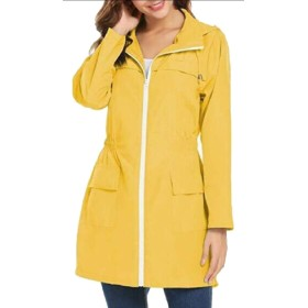 Qiangjinjiu レディース軽量防水レインコートウィンドブレーカーパッケージ屋外屋外レインジャケット Yellow XS