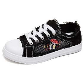 [AcMeer] ぺたんこ キャンバス レディース レースアップ スニーカー フラットシューズ カジュアルシューズ ミッドカット メッシュ きれい 可愛い 美脚 夏靴 歩きやすい 蒸れない 白黒