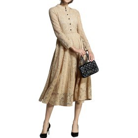 KUKAKI (クカキ) レトロ ドレス 結婚式 ワンピース レディース 総レース エレガント花柄 刺繍 袖あり 長袖 ミモレ丈 可愛い洋服 パーティー 二次会